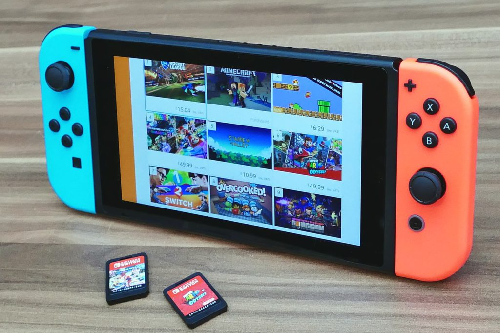 Switch eShop and cartridges.